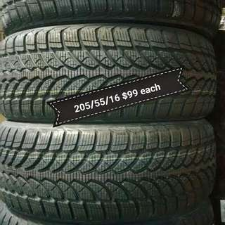 205/55/16 Bridgestone Blizzak Winter Snow Tires