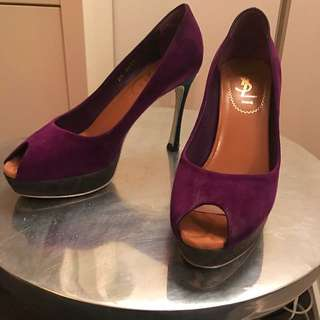 YSL Purple Suede Peep Toe Pumps