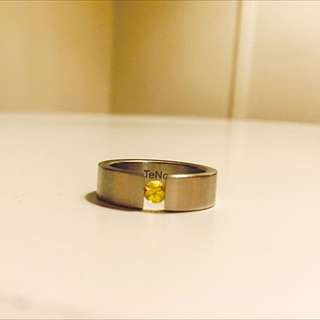 Teno Stainless Steel And Yellow Sapphire Ring