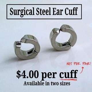 316L Surgical Steel Silver Ear Cuff