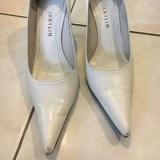 White Janilyn Pumps