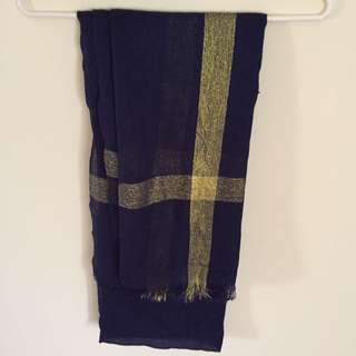 Pashmina Navy List Gold