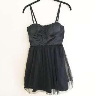 🌻 BLACK STRAPLESS BUSTIER LITTLE BLACK DRESS TUTU SKIRT MESH 🌻