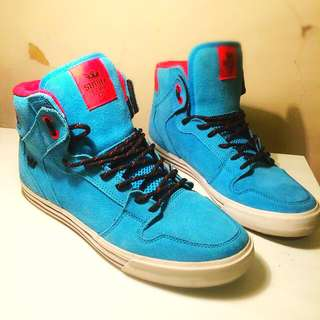 Supra High Top, Light Blue and Red