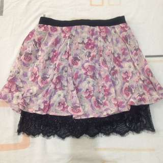 Topshop Floral Skirt With Lace Inner Lining