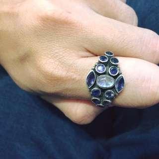 降價! 純銀紫水晶加月光石戒指