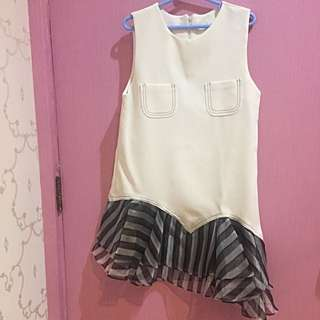 White Top With Stripes Bottom