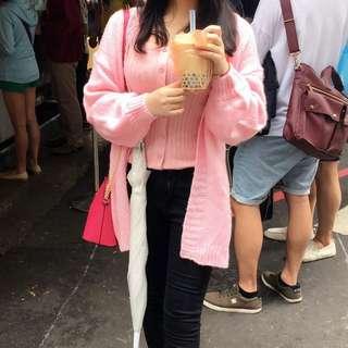 可愛粉色公主袖寬鬆針織外套