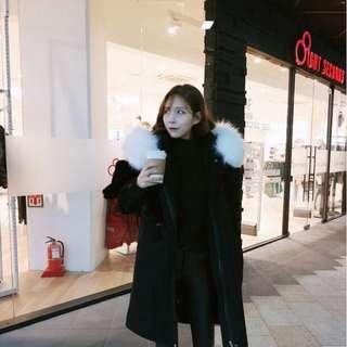 ✨實拍照✨韓妞必備溫暖澎毛內裡羔羊毛保暖長版顯瘦休閒大衣外套(黑/軍綠) Zara fashionforyes