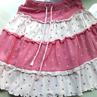 Pink Skirt Dotted With Hearts