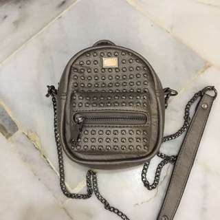REDUCED to RM35 Mini Studded Backpack In Gunmetal