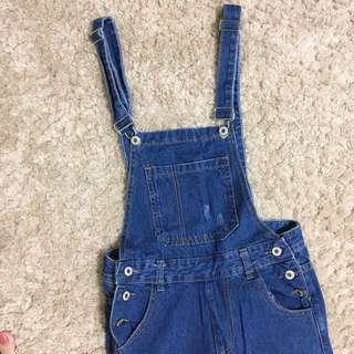藍色微刷破吊帶褲