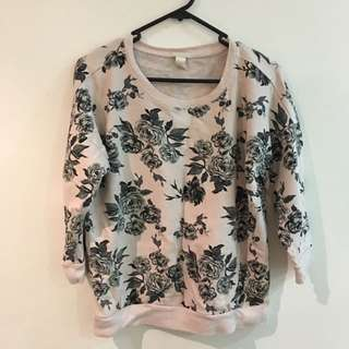 Forever 21 Baby Pink Floral Sweater