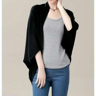 磨毛針織罩衫(黑色)