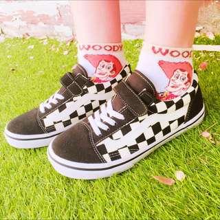 (暫售)Vans 小腳女孩也可穿的童鞋 魔鬼氈 棋盤