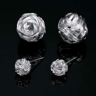 Silver double sided stud earring