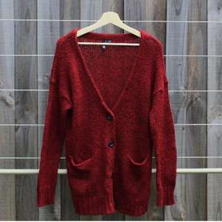 H&M Divided Vintage Burgundy Cardigan