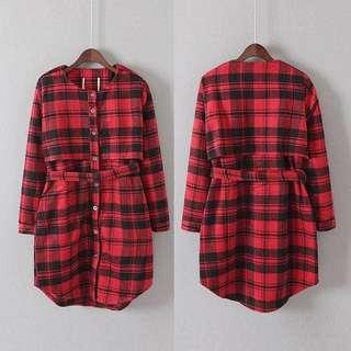 冬季紅色格仔衫