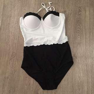 Black And White One Piece Swim Suit