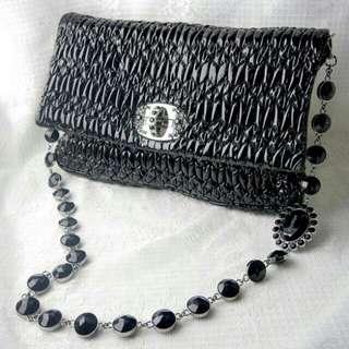 MIU MIU 黑色漆皮 寶石鍊 晚宴包 正品