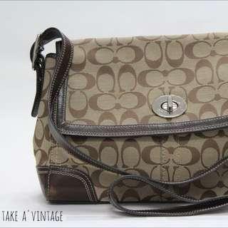 RESERVED-COACH Signature Flap Hamilton Shoulder/Crossbody Bag, Brown