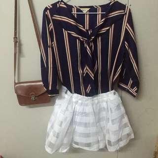 ✨白色橫條紋格子褲裙