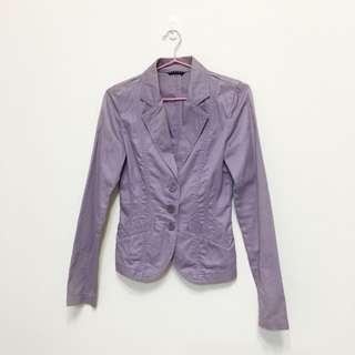 SISLEY紫藕色西裝短版腰身外套
