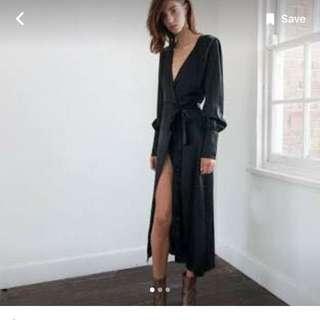 100% Silk Maxi Wrap Dress Black