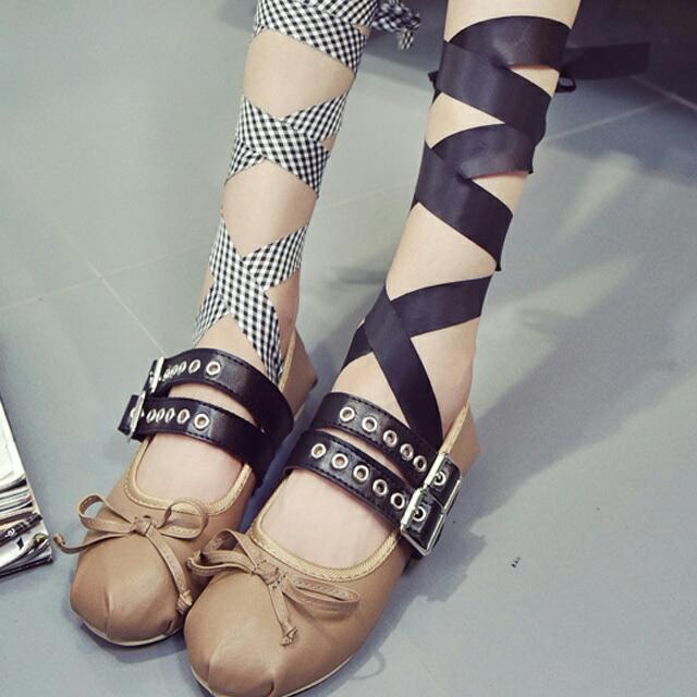 楊冪同款芭蕾舞鞋交叉綁帶內增高平底女鞋