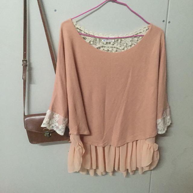✨粉色蕾絲長版衣