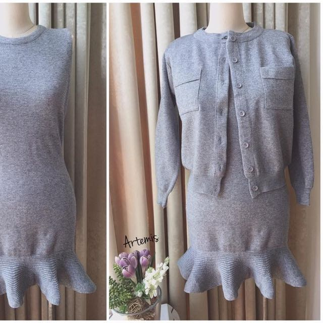 灰色套裝洋裝(灰色)