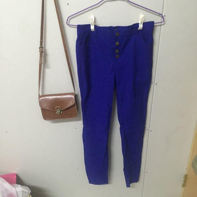 ✨寶藍色四排扣長褲