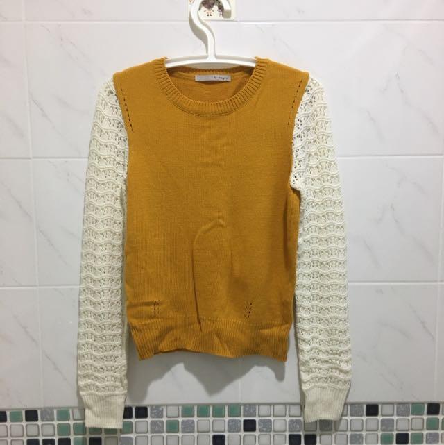 韓貨連線袖子簍空針織毛衣