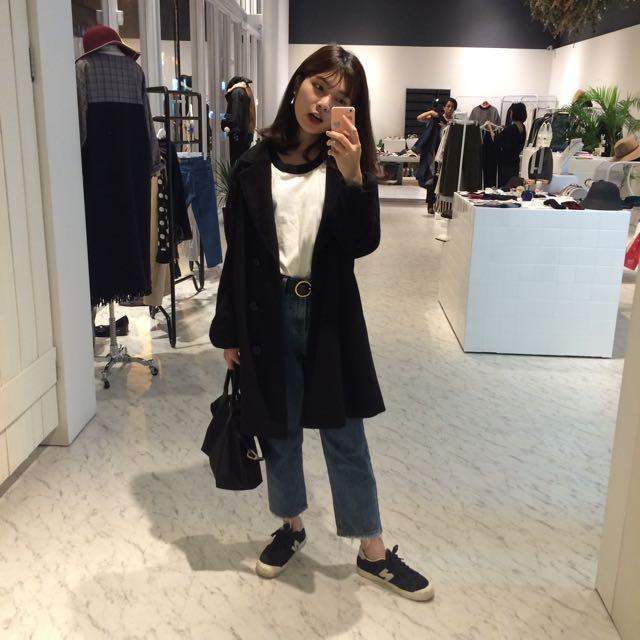 韓國黑色西裝外套 大衣