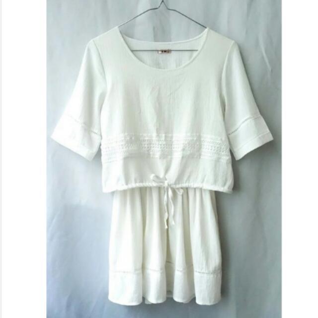 【全新】波西米亞風 蕾絲層次縮腰綁帶雪紡洋裝(米白)