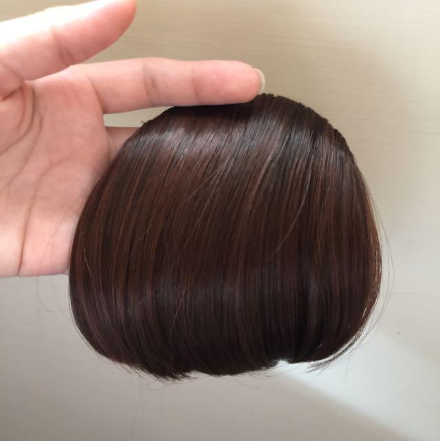 全新 厚假瀏海髮片 深棕色