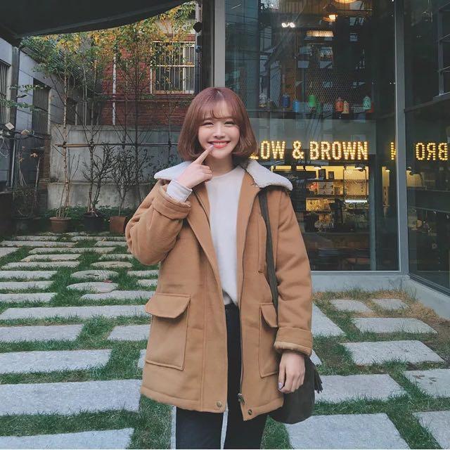 現貨 韓國ulzzang冬季新款學院風加厚羊羔毛呢大衣 毛呢外套