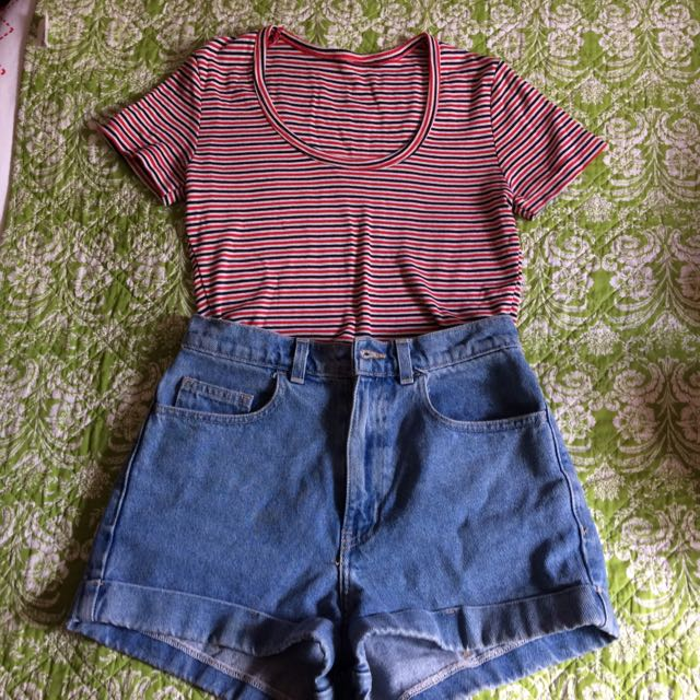 American Apparel Cropped Striped Tee Size Medium