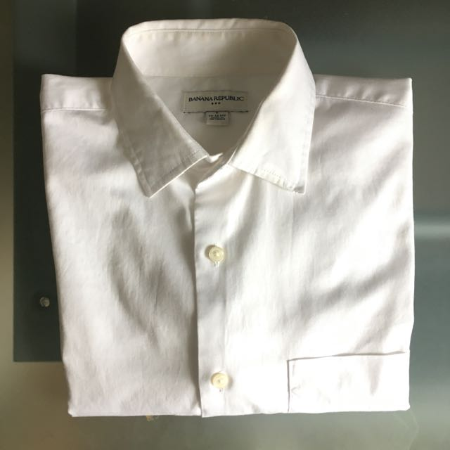 Banana Republic White Solid Shirt (Size Small)