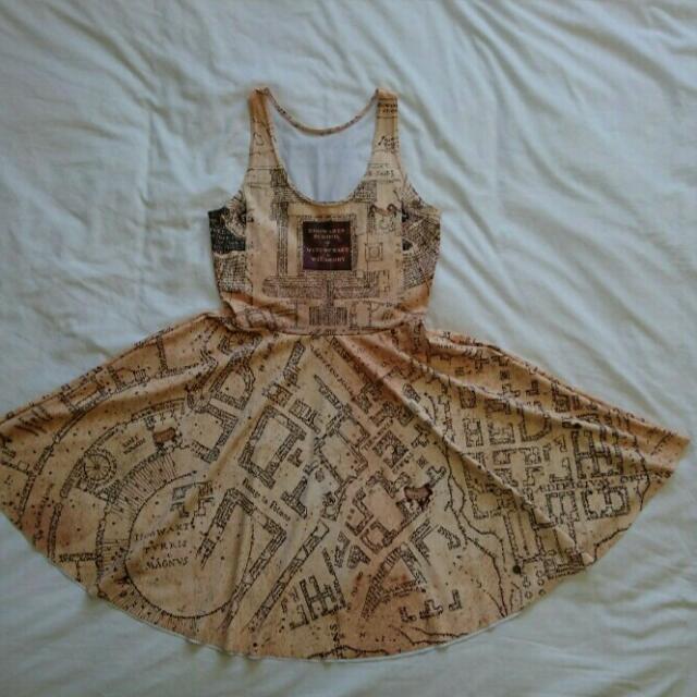 Blackmilk Marauders Map Skater Dress M