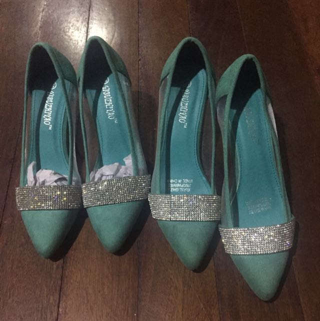 Blue Green Heels With Studs