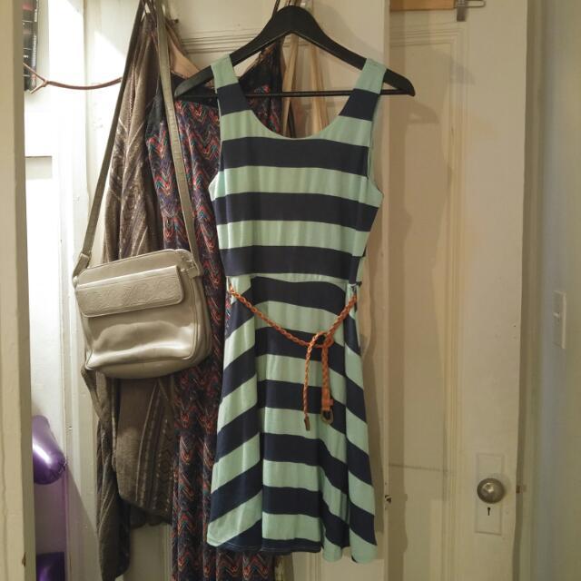 Summery Blue Striped Dress With Belt