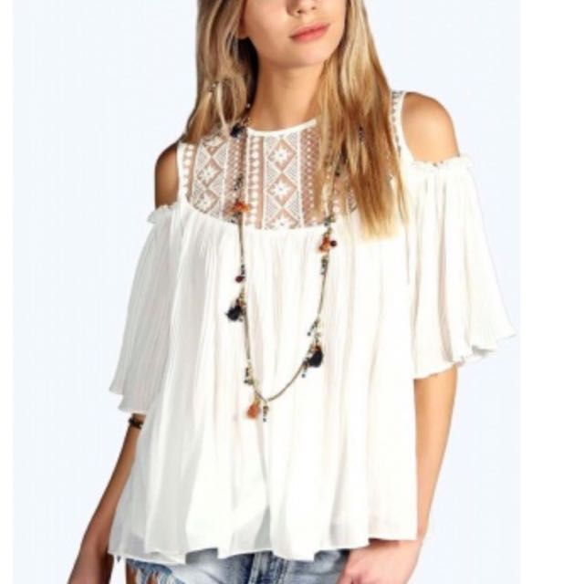 Booboo Cold Shoulder Lace Top