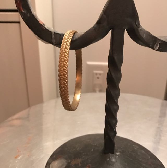 Brass Leaf Print Bangle