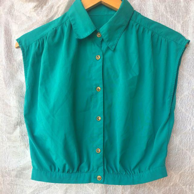 Bright Button Up Crop / XS