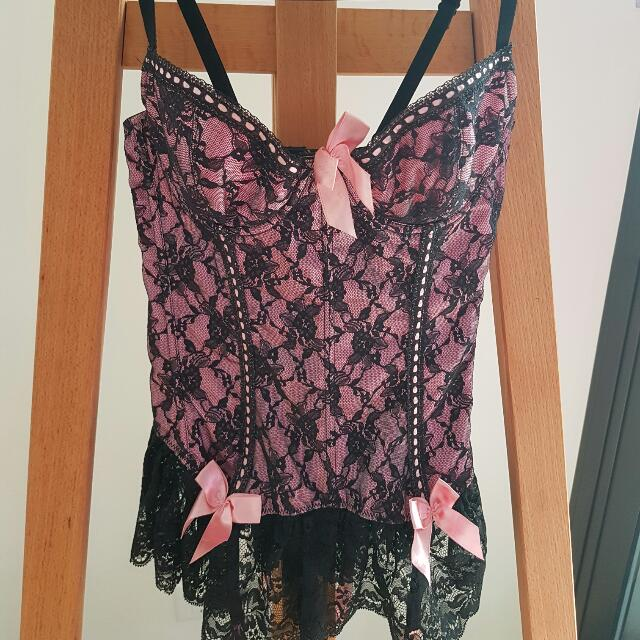 Burlesque Pink and Black Lace Corset Size S