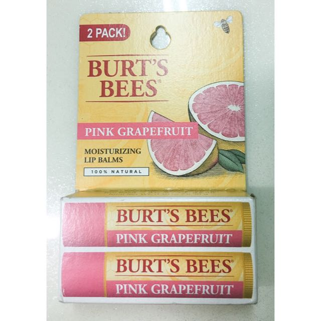 Burt's Bees Lip Balm Blister Pack, Pink Grapefruit 15 oz 愛戀葡萄柚水潤護唇膏(現貨)含運費