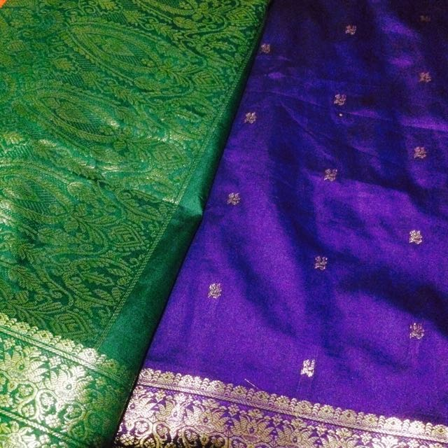 Cadbury Purple&leafy Green Saree😍