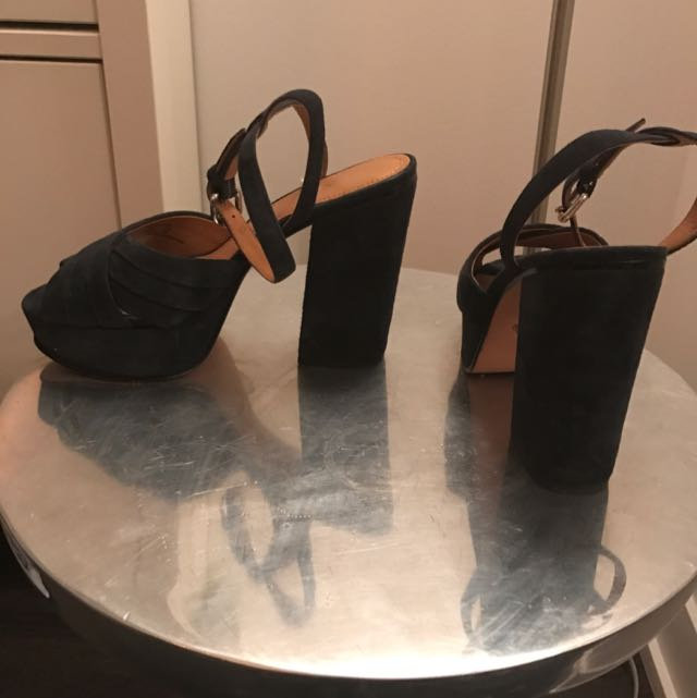 Coach Blue Suede Peep Toe Block Heel Sandals