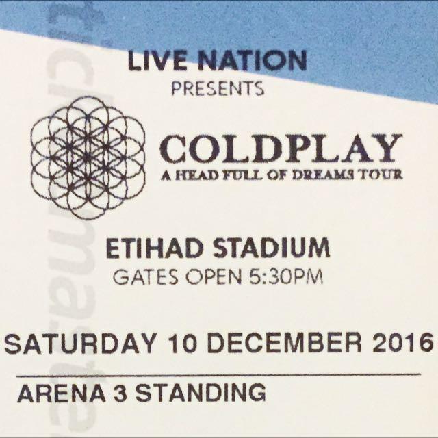 Coldplay Concert Ticket (Arena 3)